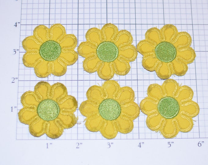 Flower Iron-on VINTAGE Patch Appliqué Lot (6 pieces, *FAIR Condition With Some Very Obvious Staining) Yellow / Green 2-Inch Diameter