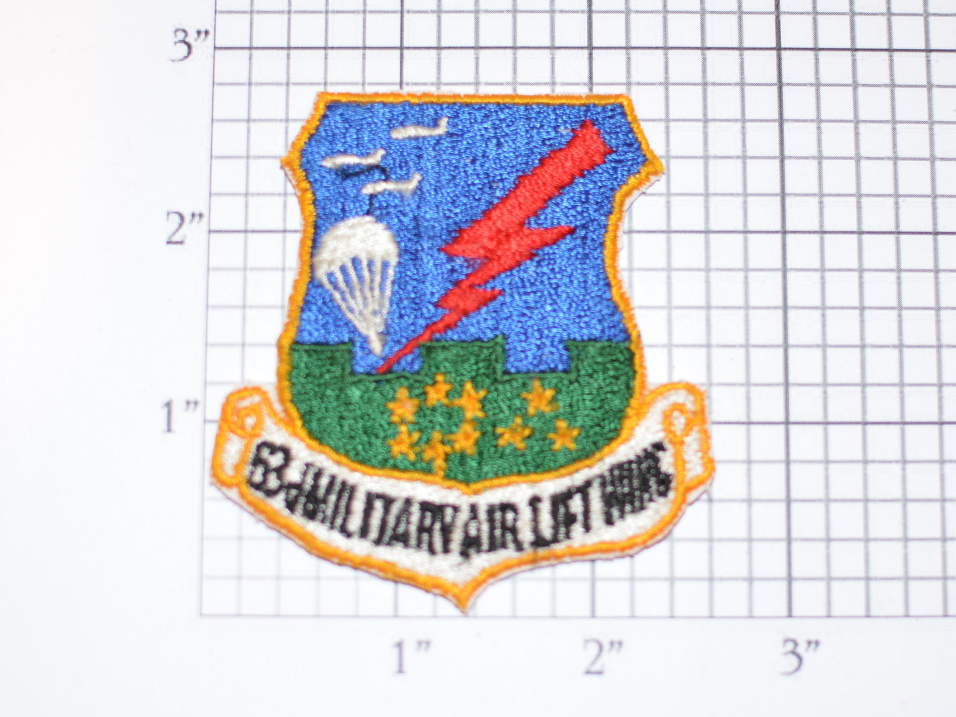ce277046d4f USAF 63d Military Air Lift Wing Sew-On Vintage Embroidered Patch ...