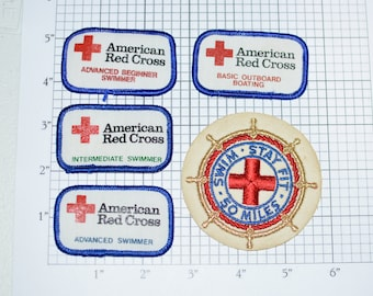 American Red Cross ARC RARE Vintage Iron-on Clothing Patches Beginner Intermediate Advanced Swimmer Swim Stay Fit 50 Miles Collectible e24c