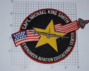 Captain Michael King Smith, Evergreen Aviation Educational Center (McMinnville, Oregon) RARE Vintage Embroidered Clothing Patch Collectible