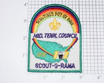 Middle Tenn Council Scouting's Pot of Gold 1978 Scout-O-Rama Sew-On Vintage Embroidered Clothing Patch Uniform Scout TN Tennessee BSA Emblem