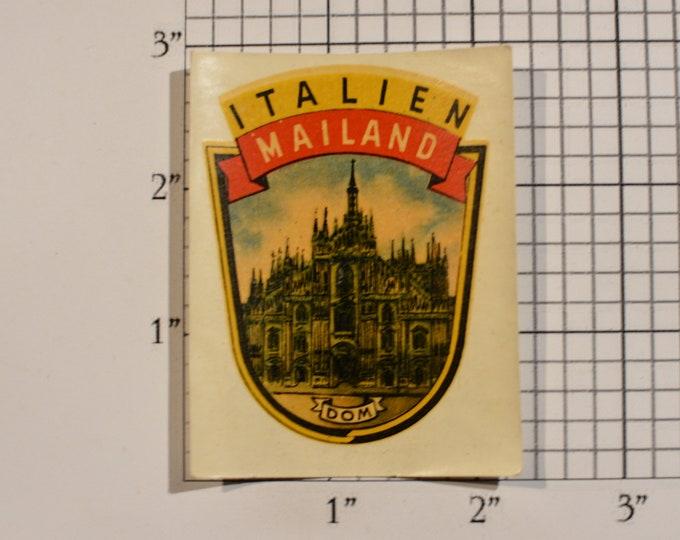 Italien Mailand (Italy, Northern Lombardy) Vintage Sticker Decal Trip Travel Souvenir Traveler Scrapbook Shadowbox Keepsake Memento Tourist
