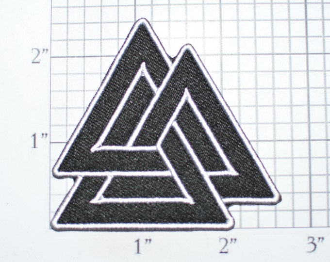 Valknut Iron-on Embroidered Clothing Patch Biker Jacket Vest Clothes Backpack Hat Patch Norse Slain Warrior Knot Triangles Odin Pagan Viking