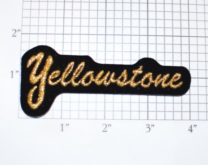 YELLOWSTONE Metallic Gold Text Iron-on Vintage Small Applique Patch Travel Trip Souvenir Collectible Sparkly National Park Souvenir Keepsake