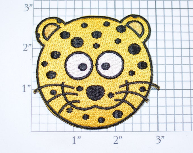 Cute Yellow Spotted Leopard Cheetah Tiger Cat Lion Iron-On Embroidered Clothing Patch for Fun DIY Clothes Clothing Kids Playful Animal Logo
