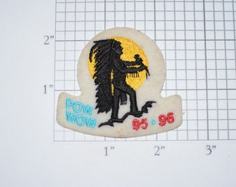 Pow Wow Stick-on/Sew-on Embroidered Vintage Clothing Patch (With Some Signs of Wear) Collectible Keepsake Emblem BSA Scouting Memento