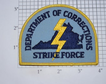 Department of Corrections Strike Force (Virginia Lightning Bolt Insignia) Officer Mint Iron-On Vintage Embroidered Patch for Uniform Jacket