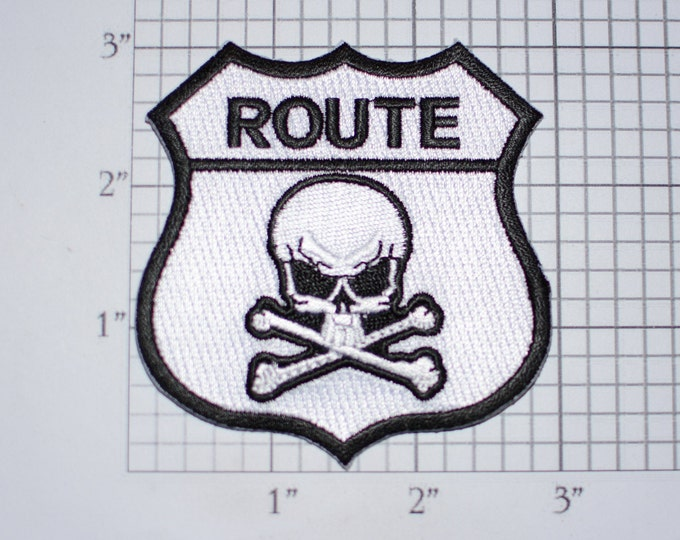 Route Highway Road Sign Skull Iron-on Embroidered Clothing Patch Biker Jacket Vest Motorcycle Rider MC Emblem Logo Garment Accent Gift Idea