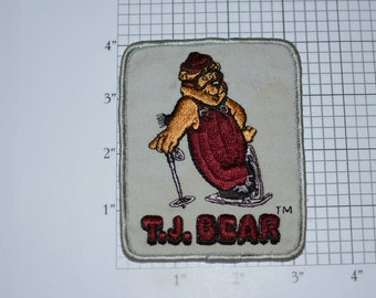 T. J. Bear Sew-On Vintage Patch Skiing Snowboarding Snowmobiling Ice Skating Embroidered Patch (Dingy / Dirty) Jacket Vest DIY Clothing Fun