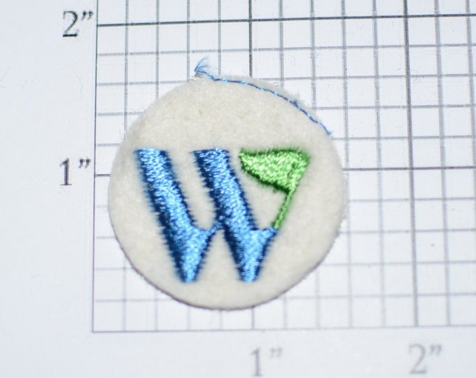 Letter W Sew-On Round Applique Embroidered Clothing Patch (Blue with Green Flag) Possibly Corporate Advertising Logo Insignia Emblem