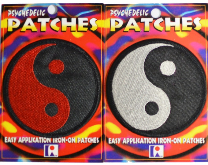 Yin and Yang Patches (Lot of 2) Iron-on Patch Vintage Patch Embroidered Patch Applique Taijitu Personal Tao Taoism Chinese Philosophy bb3