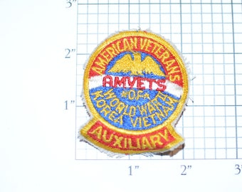 American Veterans Auxiliary AMVETS of World War II, Korea, Vietnam Military Vintage Sew-on Embroidered Patch Collectible Veteran Gift Idea