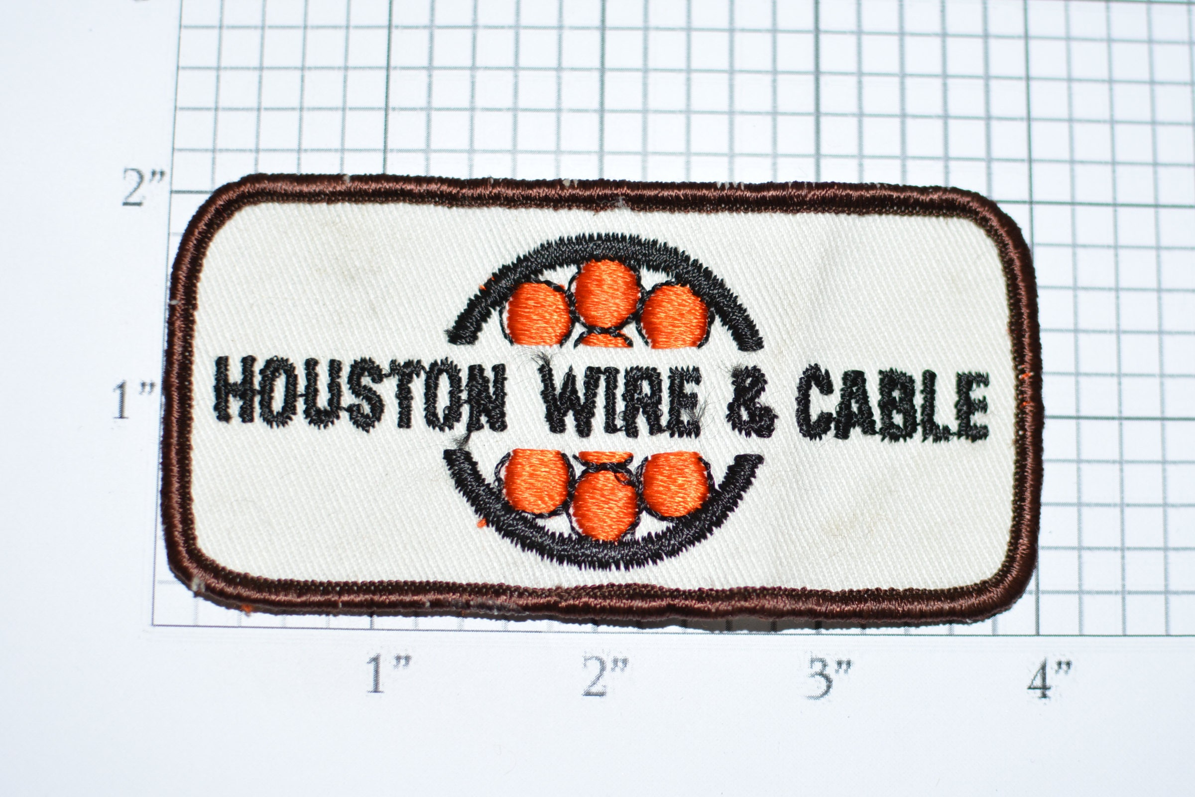 Houston Wire & Cable Vintage Embroidered Sew-on Clothing Patch