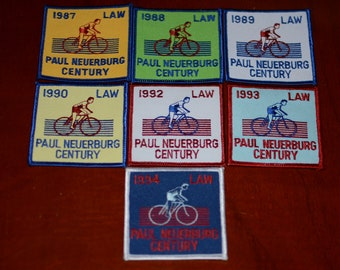 LAW (League of American Wheelmen) Paul Neuerburg Century Ride Vintage Embroidered Clothing Patch Cycling Keepsake Rider Collectible Memento