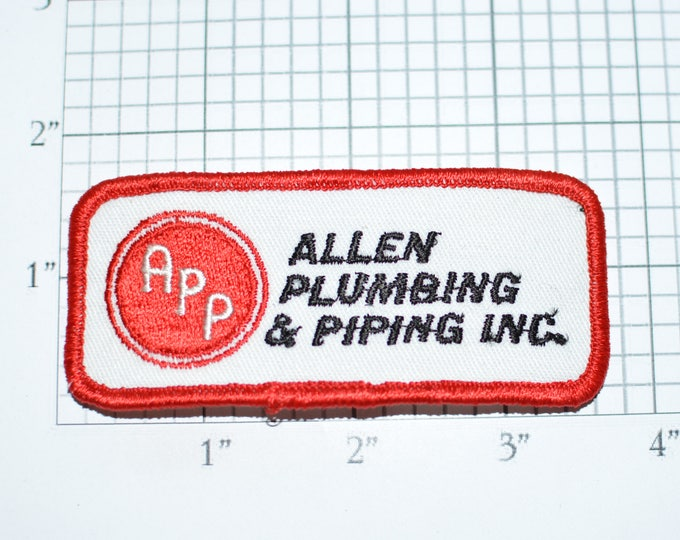 Allen Plumbing & Piping Inc Iron-On Vintage Embroidered Clothing Patch for Uniform Shirt Vest Jacket Plumber Handyman Cosplay Costume e33L