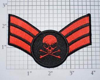 Senior Airman SKULL Iron-on Embroidered Clothing Patch Insignia Emblem Uniform Logo Cosplay Costume Military Retiree Biker Jacket Vest MC