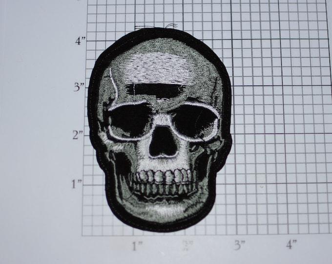 Skull Iron-on Embroidered Clothing Patch Motorcycle Biker Jacket Vest MC One Percenter Rider Emblem Novelty Badge Skeleton Death Costume
