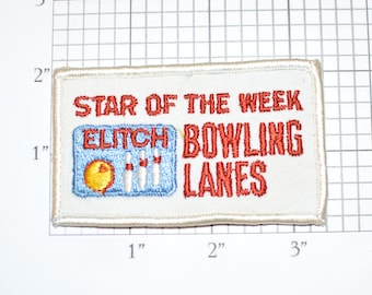 Elitch Bowling Lanes Star of the Week Award Vintage Iron-on Embroidered Clothing Patch Bowler Achievement Shirt Hat Scrapbook Memento