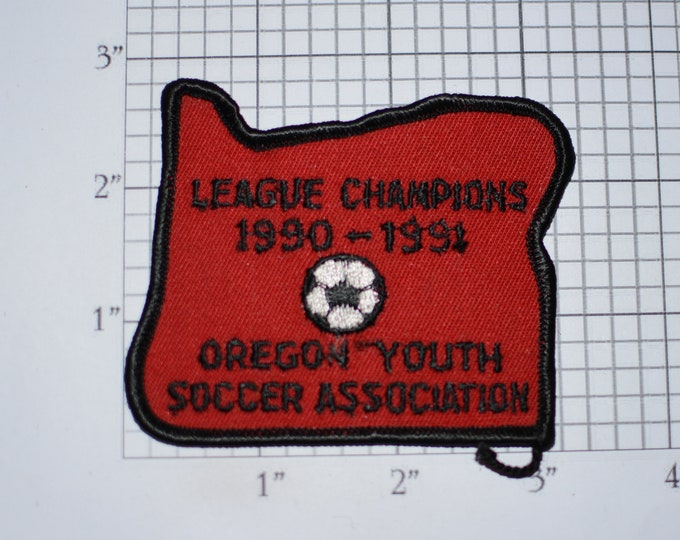 Oregon Youth Soccer Association 1990-1991 League Champions Vintage Iron-on Embroidered Clothing Patch Sports Award Insignia for Jersey Shirt