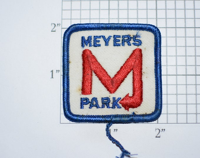 Meyers Park (Parking Lot Systems) Rare Vintage Iron-on Embroidered Clothing Patch (Dingy/Stained) Uniform Shirt Vest Jacket Attendant Valet