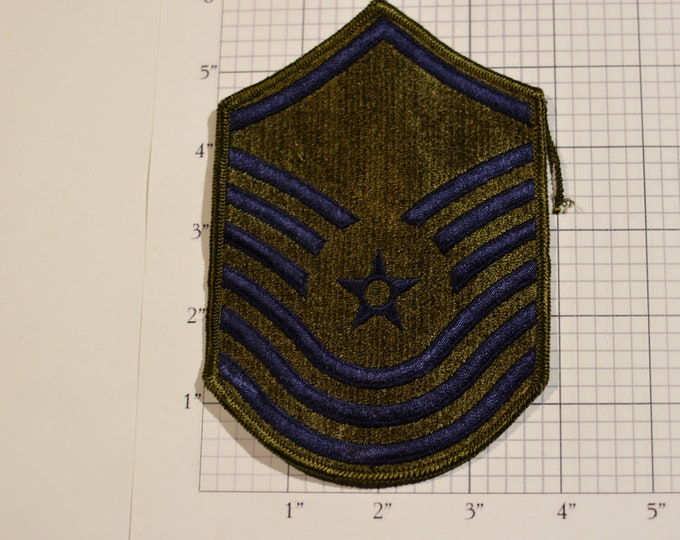 USAF Chief Master Sergeant Rank Old/Obsolete Subdued Insignia E-9 Pay Grade 1970's Vintage Embroidered Uniform Patch Emblem Military Memento