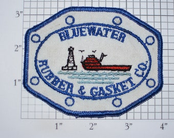 Bluewater Rubber Gasket Co RARE Vintage Sew-on Embroidered Clothing Patch (Dirty/Dingy) for Uniform Shirt Jacket Vest Insignia Logo Emblem