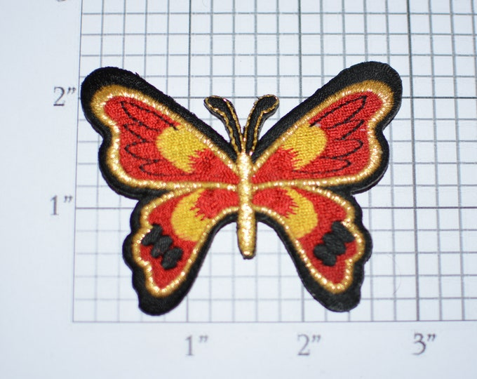 Butterfly Iron-On Applique Metallic Gold Thread Embroidered Clothing Patch for Backpack Jacket Shirt Decorative Fabric Emblem DIY Craft