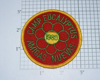 Camp Eucalyptus Amigas Nuevas (New Friends) Girl Scouts 1980 Vintage Embroidered Clothing Patch GS Collectible Souvenir Badge Emblem Memento