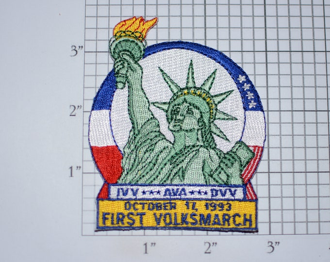 First Volksmarch American Volkssport Association AVA IVV DVV Iron-On Embroidered Clothing Patch Keepsake Emblem Statue of Liberty Crest Logo