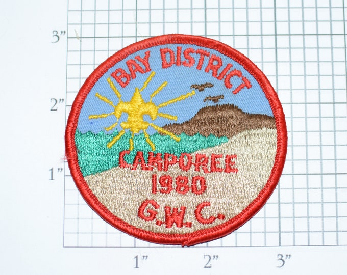 Bay District Camporee 1980 G.W.C. Sew-On Vintage Embroidered Clothing Patch Scout Uniform BSA Emblem Logo Badge Collectible Keepsake Memento