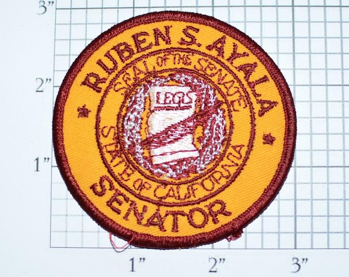 Ruben S (Samuel) Ayala State of California Senator Vintage Iron-On Embroidered Clothing Patch Politics Politician Seal of the Senate CA e28b