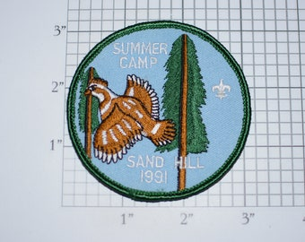 Summer Camp Sand Hill 1991 MINT Vintage BSA Sew-On Embroidered Clothing Patch Uniform Badge Keepsake Collectible Memento Logo Scouting