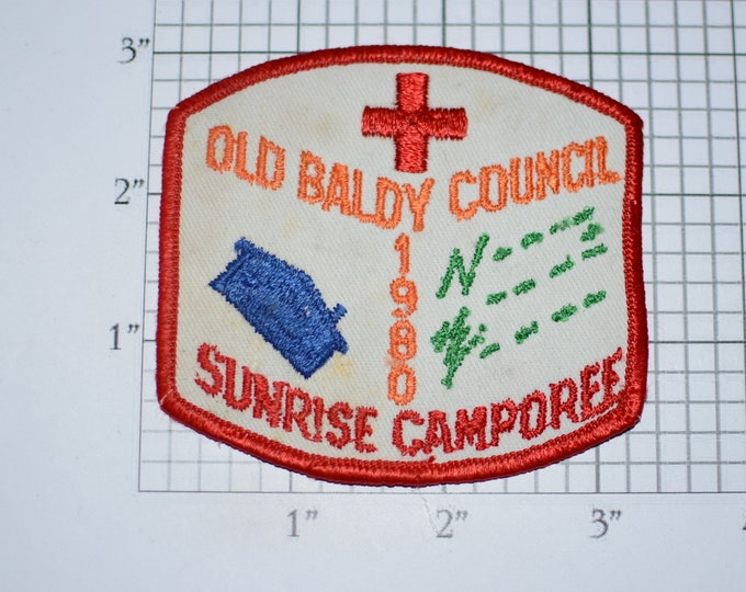 Old Baldy Council Sunrise Camporee 1980 Sew-On Vintage Embroidered Clothing Patch (Dirty/Dingy) Scout Uniform BSA Emblem Badge Collectible