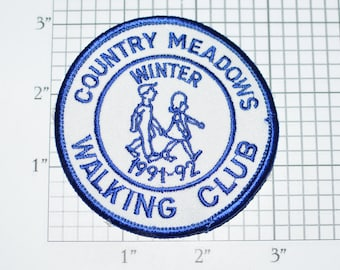 Country Meadows Walking Club Winter 1991-92 Iron-On Vintage Embroidered Clothing Patch Collectible Souvenir Clothes Hole Repair Mend e32L