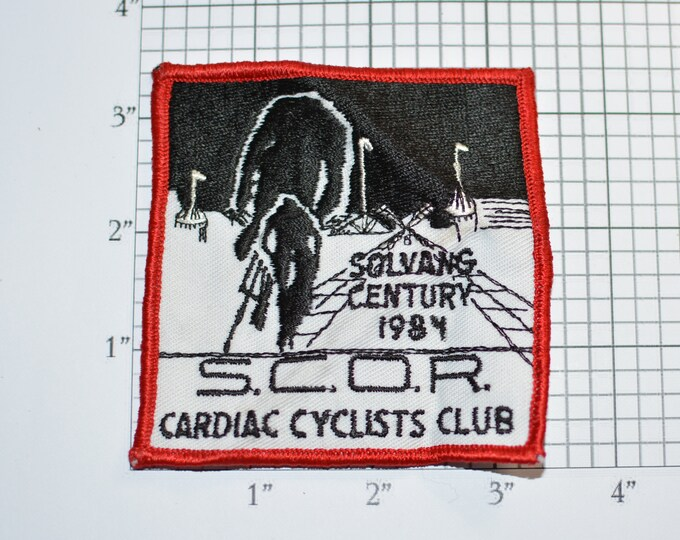 S.C.O.R. Cardiac Cyclist Club Solvang Century 1984 Event Souvenir Embroidered Patch Vintage Bicycle Cycling Collectible California Bike