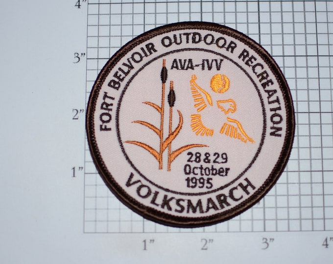 Fort Belvoir (Virginia) Outdoor Recreation Volksmarch 1995 AVA-IVV American Volkssport Association Sew-On Embroidered Vintage Clothing Patch
