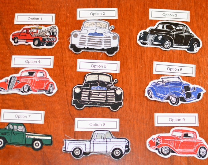 Vintage Classic Car and Truck Hand-Cut Embroidered Clothing Patches (Sold Separately) for DIY Accent Embellishment Car Guy Garage Mechanic