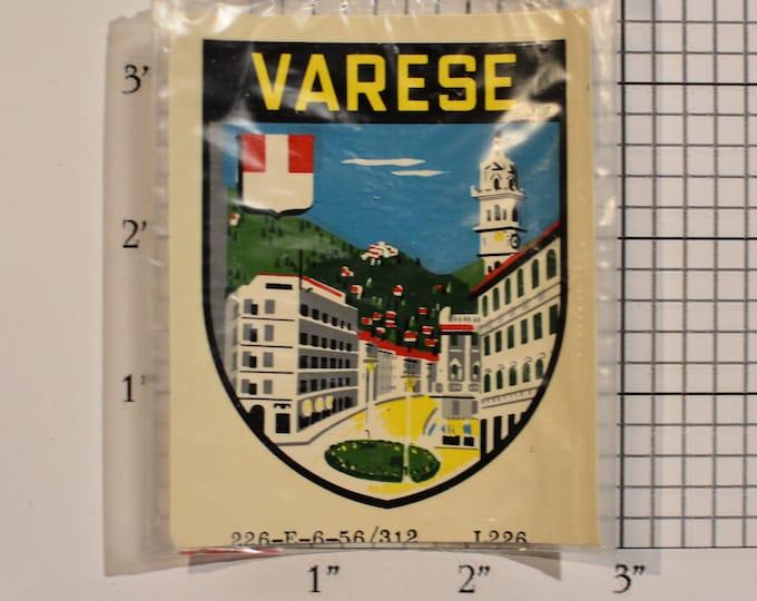 Varese, Northern Italy Vintage Sticker Decal Trip Travel Souvenir Traveler Scrapbook Shadowbox Keepsake Emblem Memento Tourist