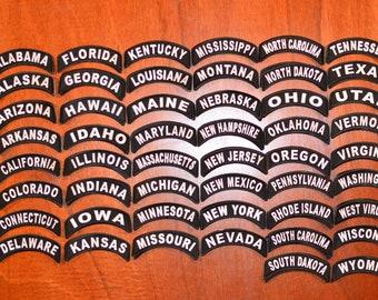 US States Biker Jacket Vest Iron-on Rocker Patch Location Tab Delaware Georgia Illinois Indiana Iowa Minnesota Missouri Montana Texas USA