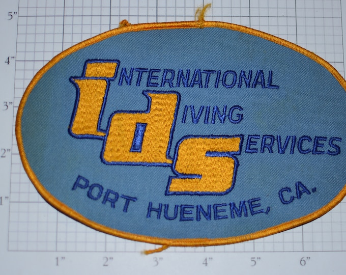 International Diving Services (ids) Port Hueneme California Vintage Iron-on Embroidered Back Patch (Large) SCUBA Company Collectible Emblem