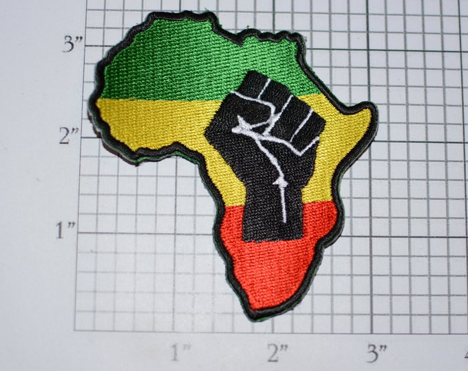 Raised Clenched Fist on Africa Outline Map Iron-On Embroidered Clothing Patch Symbol of Solidarity Unity Strength Defiance Resistance Emblem