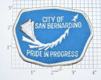 City of San Bernardino Pride in Progress Iron-On Vintage Travel Patch California CA Motto Souvenir Jacket Vest Backpack Patch Memento e26L