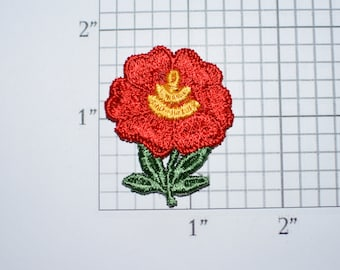 Red Flower Vintage Sew-on Embroidered Clothing Patch Applique for Craft Project Jacket Shirt Dress Hat Girl Clothes Hole Repair Cover Up