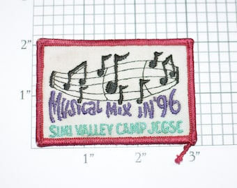 Musical Mix in '96 Simi Valley Camp RARE Iron-on Vintage Embroidered Clothing Patch Music Souvenir Collectible Memorabilia Emblem Music