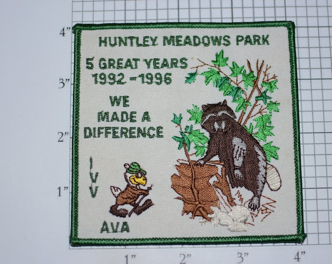 Huntley Meadows Park 5 Great Years 1992-1996 We Made a Difference AVA-IVV American Volkssport Association Iron-On Embroidered Clothing Patch