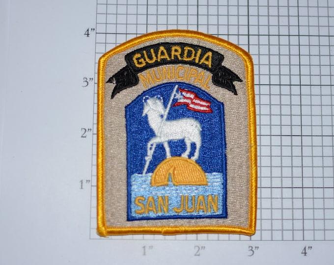 Guardia Municipal San Juan Puerto Rico Police 1980s Vintage Iron-on Embroidered Patch for Uniform Shoulder Jacket Vest Shirt Law Enforcement