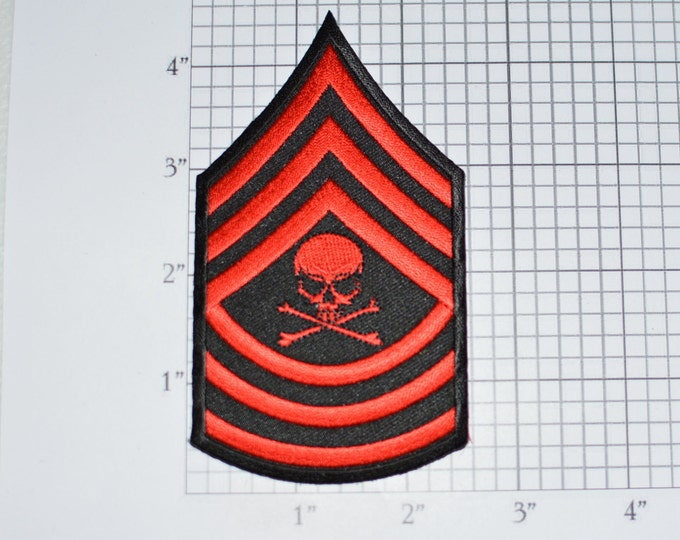"""Red Skull Crossbones Chevron """"Master Sergeant"""" Embroidered Iron-on Patch Shoulder Insignia Outlaw Biker Jacket Vest Costume Cosplay Death"""