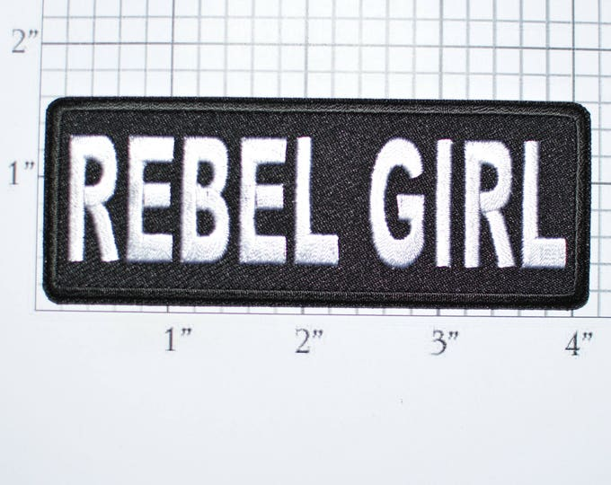 Rebel Girl Iron-On Embroidered Clothing Patch for Shirt Jacket Vest Hat Backpack Jeans Motorcycle Biker Novelty Lady Rider Gang Badge t02a