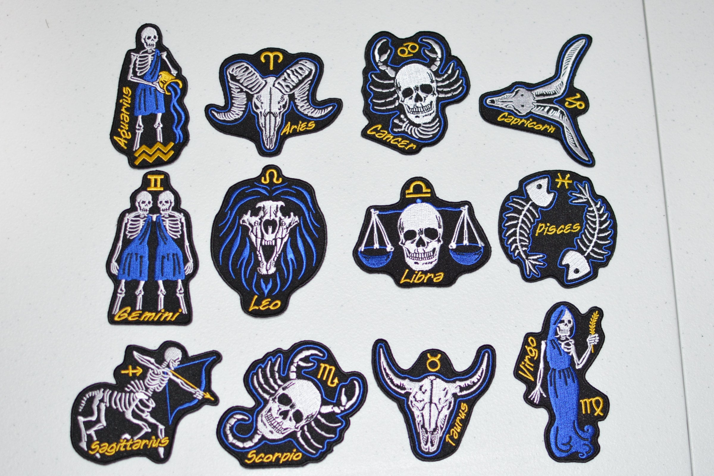 Skeleton Astrology Zodiac Birth Sign Iron-on Embroidered Clothing