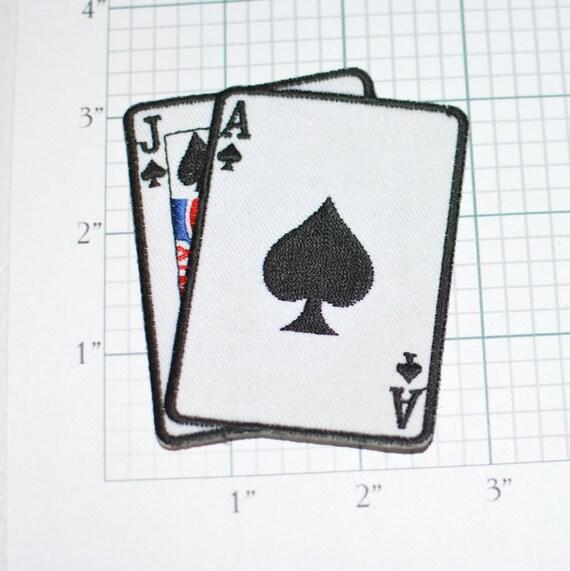 BLACKJACK Ace Jack Spades Iron-On Vintage Patch Poker
